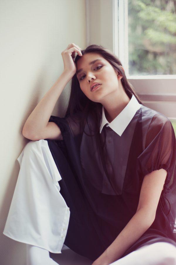 Fekete hálós női póló