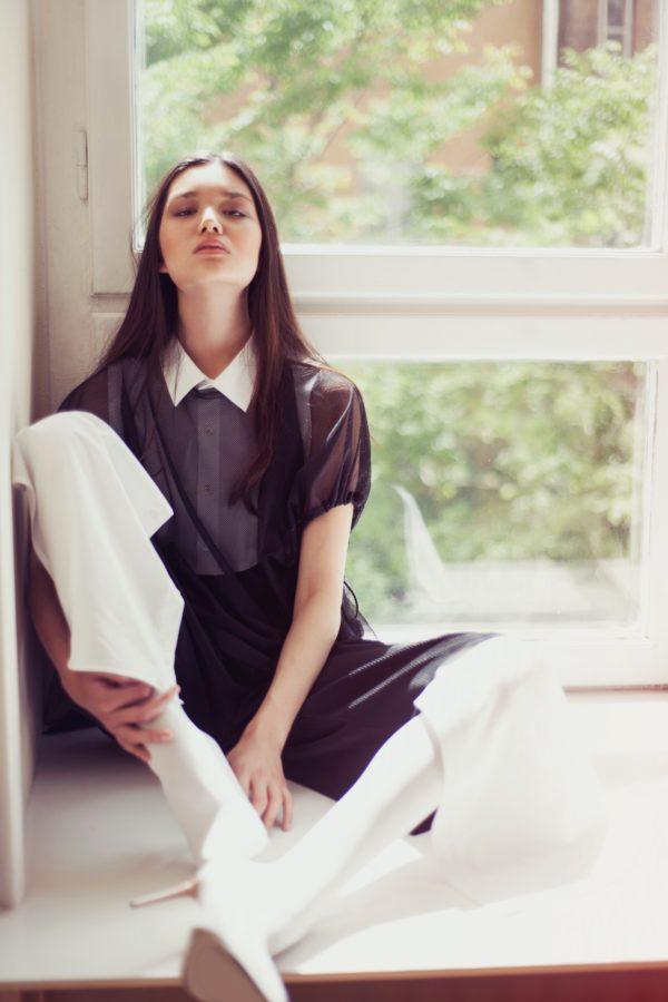 Női ing Culotte fekete-fehér